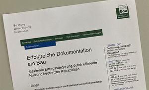 Ausschreibung BWI-Bau-Seminar Erfolgreiche Dokumentation